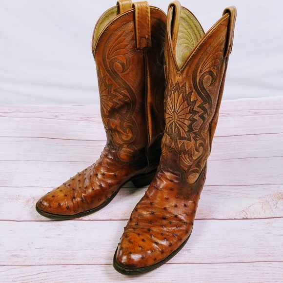 cadded68340 Dan Post Cowboy Boots Ostrich Western Mens 8.5 D
